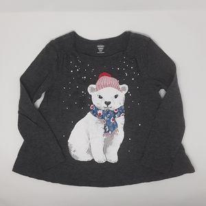 Old Navy Gray Polar Bear Winter Shirr